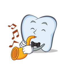 tooth character cartoon style with trumpet vector image