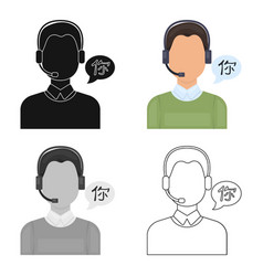 translator icon in cartoon style isolated on white vector image