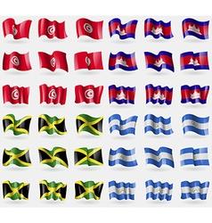 Tunisia Cambodia Jamaica Nicaragua Set of 36 flags vector image