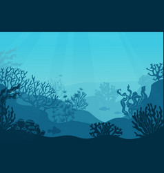 underwater seascape seafloor undersea with vector image