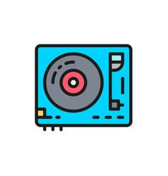 Vinyl turntable dj mixer flat color line icon vector