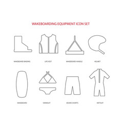 wakeboarding equipment icons set vector image