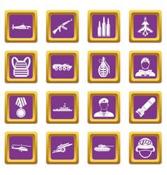war icons set purple vector image