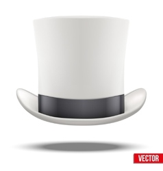 White gentleman hat cylinder with black ribbon vector image