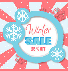 Winter sale off blue circle image vector