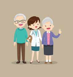 Woman doctor and older patient happy vector