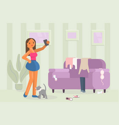 young girl tries on clothes and making selfie vector image