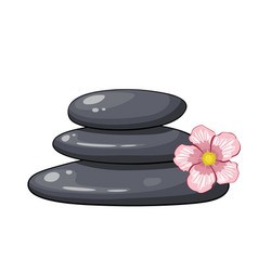 Zen spa stones stack with abstract flower vector
