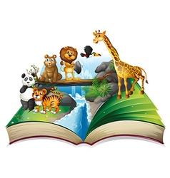 Book of wild animals at waterfall vector image
