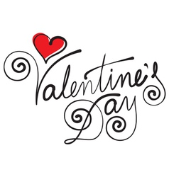 happy valentine day hand lettering vector image