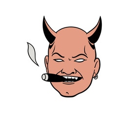 smoking devil head vector image