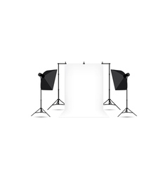 Two softboxes and white photo background vector image