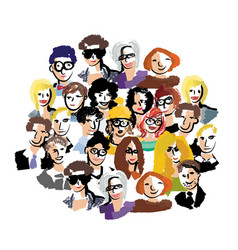 group people art faces crowd isolate on white vector image