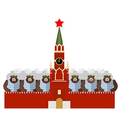Moscow Kremlin and bears Many Russian evil animals vector image vector image