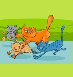 running cats group cartoon vector image vector image