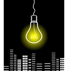 bulb shines vector image vector image