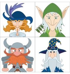 Fantasy heroes set avatars vector image vector image