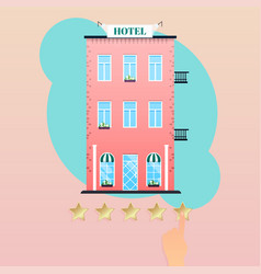 hand giving five star rating to hotel hand vector image vector image