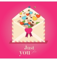 Happy Valentines Day Envelope with Paper Hearts vector image vector image
