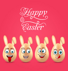 humor easter invitation with smiling eggs with vector image