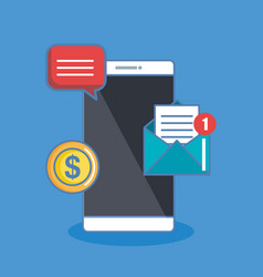 notification of an incoming email sms money to a vector image