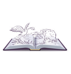 open book fairy tale of ugly duckling vector image vector image