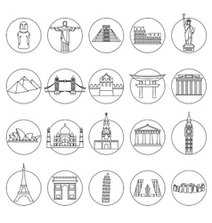 Popular travel landmarks icons vector image vector image