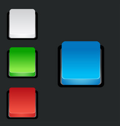 set of blank colorful 3d square buttons vector image