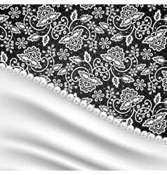 silk drapery and pearl necklace vector image
