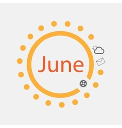 Sun symbol with June text inside vector image