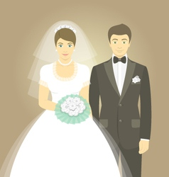 Wedding portrait of bride and groom vector