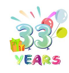 happy birthday thirty three 33 year vector image vector image