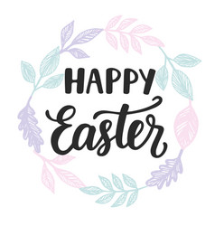 happy easter card with modern calligraphy vector image vector image