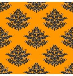 Seamless dark blue floral pattern vector