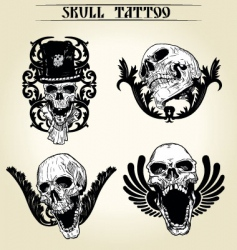 set skull tattoo vector image
