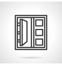 Simple line double doors icon vector image