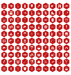 100 tackle icons hexagon red vector