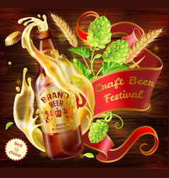 3d craft beer advertising poster template vector