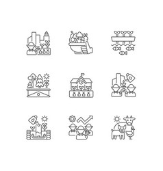 Agricultural business linear icons set vector