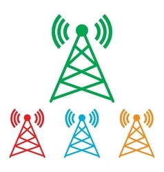 Antenna sign Colorfull set vector image