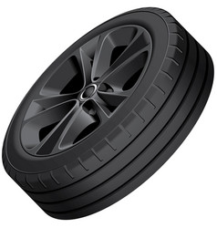 Black alloy wheel isolated vector