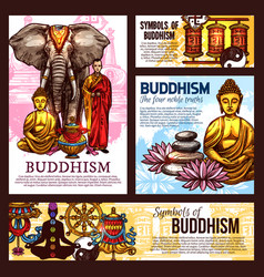 buddhism religion sketch symbols and elements vector image
