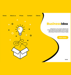 business creative idea landing page light bulb vector image