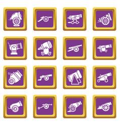 Cannon retro icons set purple square vector