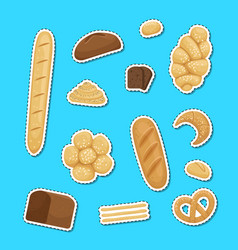 cartoon bakery elements stickers set vector image