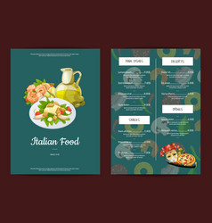 cartoon italian cuisine cafe or restaurant vector image