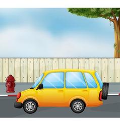 Cartoon yellow car vector