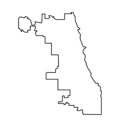 Chicago city map of black contour curves on white vector