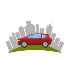 Cityscape buildings and car isolated icon vector