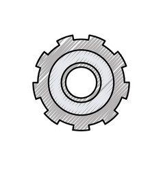 Colored crayon silhouette of gear of wheel vector